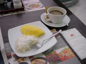 Forget about cake - it is sticky rice with mango here!
