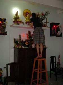 Last prep - fixing the lamps above the altar