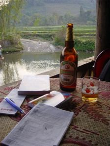 My first meal and moments in Laos, at the river of Muang Mai