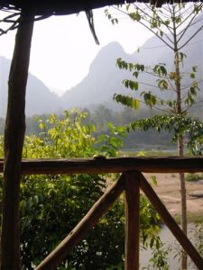Muang Ngoi - the view from my bamboo hut...