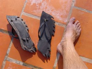 Lovely recycled car tyre flaming flip flops
