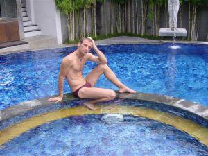 The mermaid in the pool