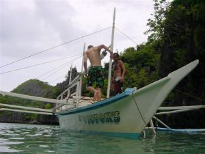 Renting a little bangka motor boat