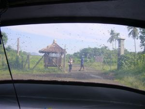 Approaching the airport by tricycle