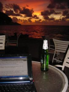 Blog 'n' Beer at Sunset