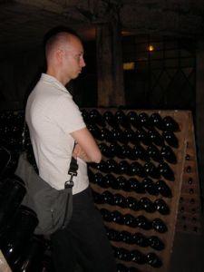 The wine tilting (riddling) racks