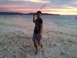 Badminton challenge on the beach