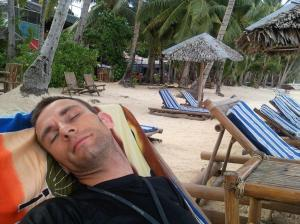 Second Sleep - on the deserted raked beach under the coconut trees
